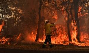 RFS firefighters by containment lines at a NSW central coast bushfire