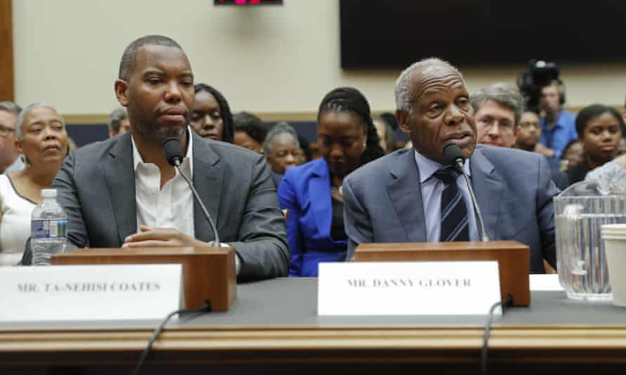 The actor Danny Glover, right, testifies before Congress about reparations alongside the author Ta-Nehisi Coates. Glover appeared at a town hall in Evanston to discuss the same issue.