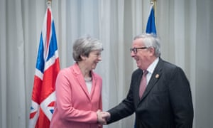 Theresa May meeting Jean-Claude Juncker, president of the European commission, at the EU-Arab summit at Sharm El Sheikh this morning.