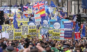 Hundreds of thousands of people take part in a people's march protest London, on 23 March 2019.