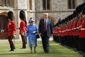 President Trump with the Queen inspecting the Guard of Honour at Windsor Castle