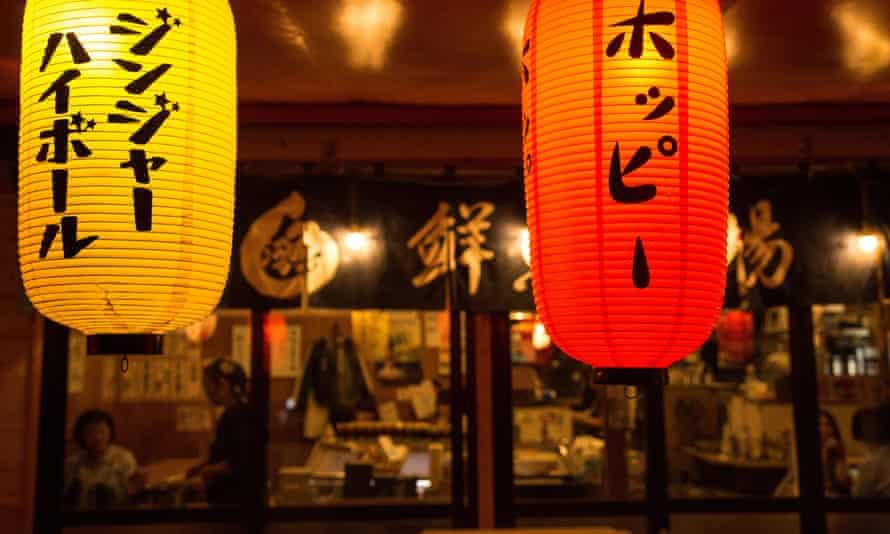 Red lanterns in front of an Izakaya in Tokyo