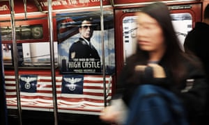 A New York City subway car is covered in Nazi imagery to promote the new Amazon television series The Man in the High Castle.