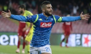 Napoli's Lorenzo Insigne celebrates after scoring in the last minute.