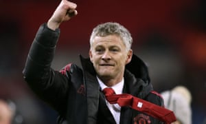 Solskjaer celebrates beating Tottenham at Wembley in the early weeks of his reign