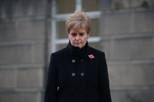 Scotland's first minister, Nicola Sturgeon, attends a ceremony outside St Andrew's House in Edinburgh