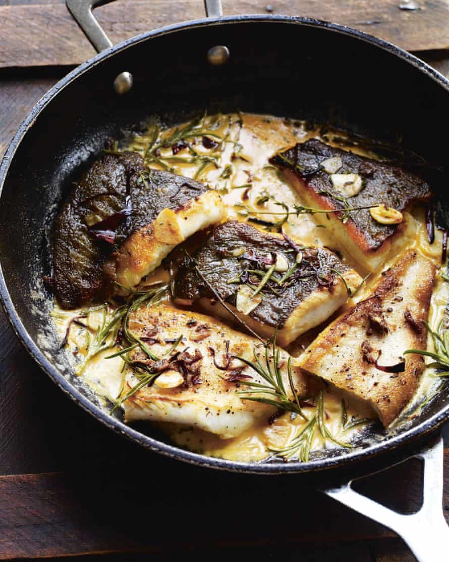 Brill with anchovies, cream & rosemary from Gather by Gill Meller