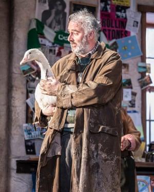 John Hodgkinson as the English 'fool' Tom Kettle in The Ferryman.