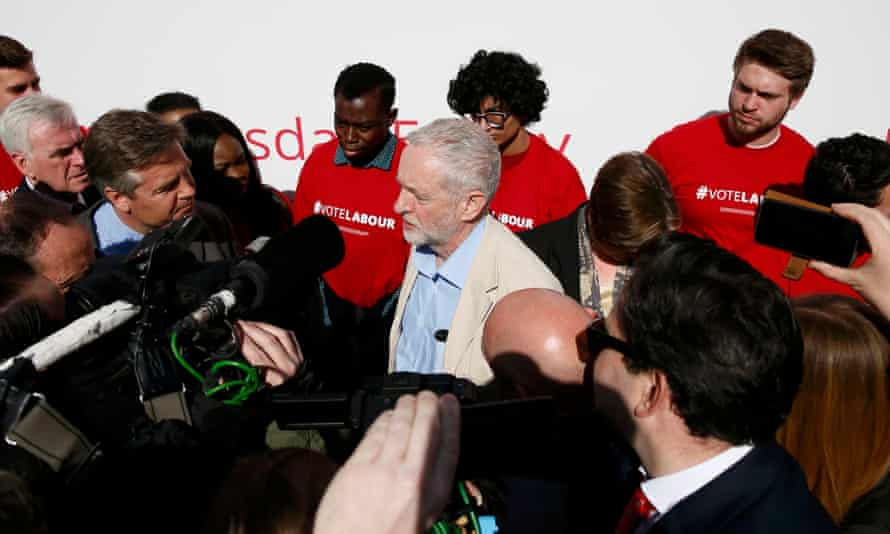 Corbyn confronted by reporters at a poster launch
