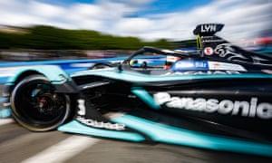 Briton Alex Lynn races the Jaguar I-Type 3 in the Formula E Championship race Paris this year.