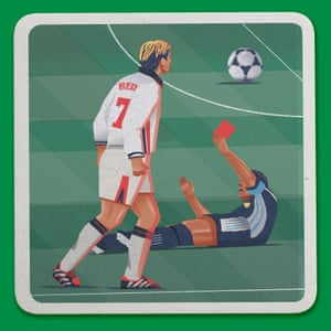 Weird World Cup design by Raj Dhunna.  David Beckham's crazy red card against Simeone of Argentina. France, 1998.