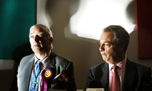Brexit Leave campaigner Nigel Farage with Clexit president Christopher Monckton in Aberdeen.