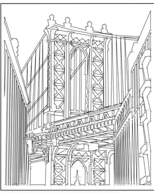 A Drawing Of New Yorks Manhattan Bridge From An Extreme Dot To Book
