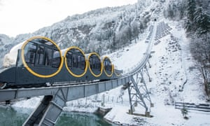 The Schwyz-Stoos funicular in the Alpine resort of Stoos.