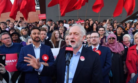 Jeremy Corbyn at a Momentum event in May