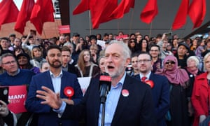 Jeremy Corbyn at a Momentum rally in Manchester, 5 May, 2017.