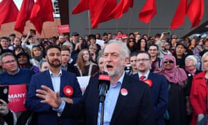 Jeremy Corbyn at a Momentum event in Manchester in May 2018.