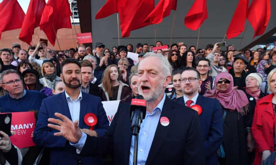 Jeremy Corbyn speaks during a Momentum rally in Manchester.
