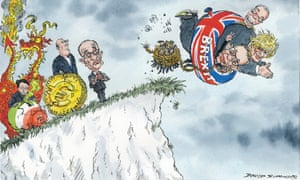 Cartoon of Brexit campaigners going over a cliff watched by spectators including Alan Greenspan