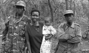 Evelyn Amony in the bush, when she was forced to accompany Joseph Kony.