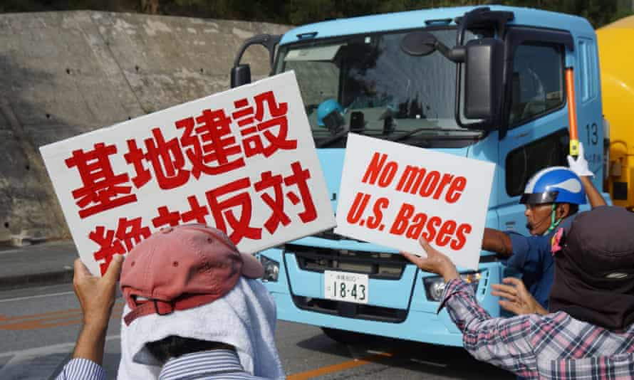 Protesters demand reduced US Military base burden in Okinawa