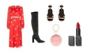 Dress, £190 By Timo from brownsfashion.com; Boots, £180, dunelondon.com; Earrings, £49, uterque.com; Bag, £40, accessorize.com; Lipstick in Annabella, £26 by Nars from spacenk.com