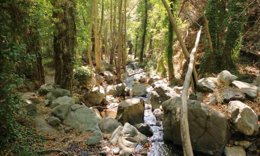 Sendero de la cascada de Caledonia en las montañas de Troodos en Chipre