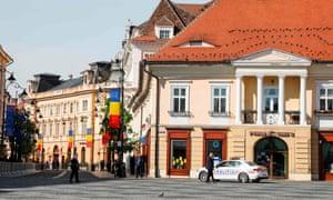Police patrolling Piata Mare (Main square) in Sibiu, central Romania ahead of the EU summit there today.