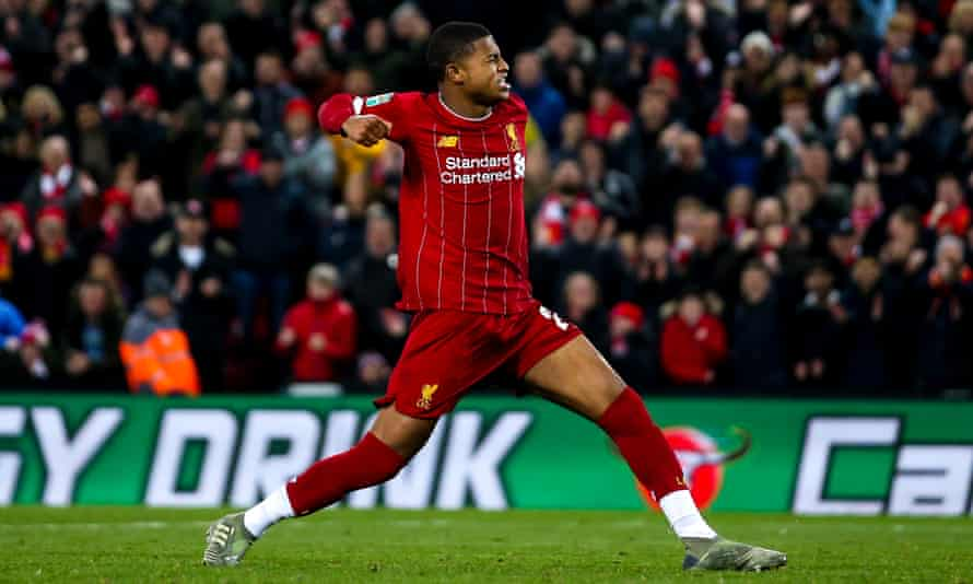 Rhian Brewster celebrates scoring his penalty in Liverpool's Carabao Cup shootout win against Arsenal in October 2019