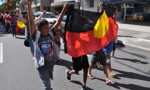 Aboriginal activists from the Noongar Tent Embassy march down central Adelaide Terrace in Perth in 2012.