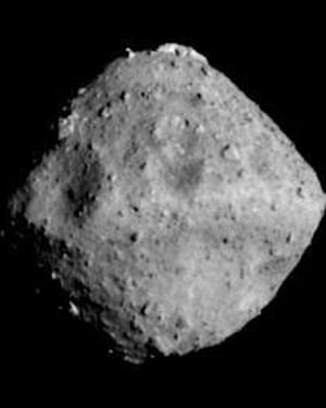 The asteroid Ryugu photographed on 24 June 2018, from about 25 miles away by the Hayabusa 2 spacecraft.