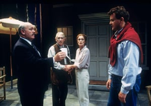 Nick Stringer, Frank Finlay, Kate Lynn-Evans and Hugh Bonneville in The Handyman at Chichester Festival theatre in 1996.