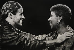 George Michael and Aretha Franklin during his 1988 Faith world tour.