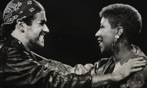 Aretha Franklin with George Michael during his Faith World Tour in 1988.