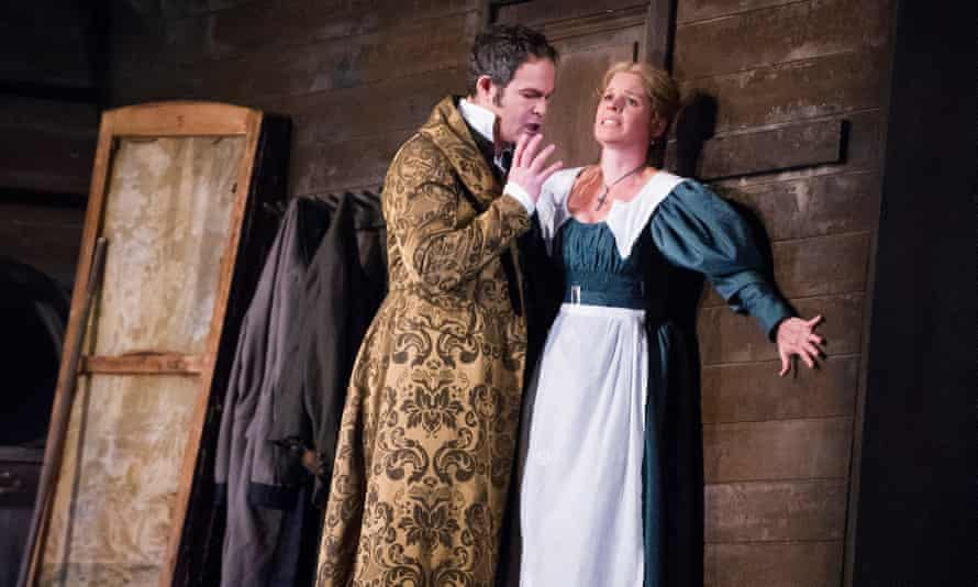 Gerald Finley as Count Almaviva and Camilla Tilling as Susanna in Le Nozze Di Figaro by Mozart at the Royal Opera House.