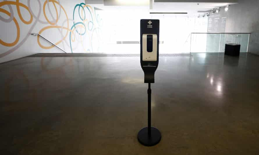 A hand sanitiser station is seen at the Museum of Contemporary Art on June 12, 2020 in Sydney, Australia.