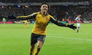 Alexis Sánchez celebrates the first of his three goals at West Ham on Saturday. He has 18 months left on his current Arsenal contract.