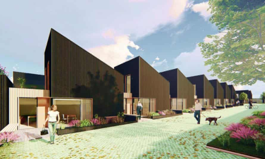 An artist's impression of the 'gap homes' set to be built on old garage sites in Bristol