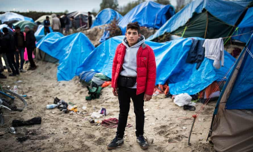 Firas, 15, from Syria, at the refugee camp in Calais.
