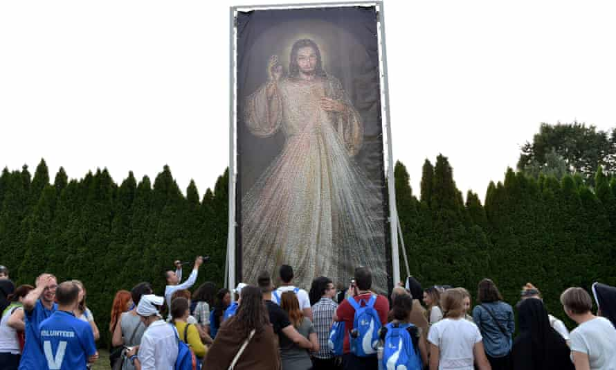 A giant mosaic of Jesus made out of selfie pictures which has been created for the festival.