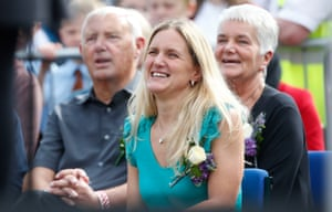 Kim Leadbeater, the sister of Jo Cox, and her parents Jean and Gordon Leadbeater attend a gathering in Batley, West Yorkshire