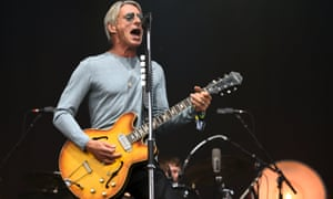 Paul Weller on the Pyramid stage at the 2015 Glastonbury festival.