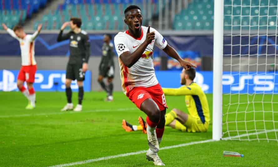 Amadou Haidara celebrates volleying in RB Leipzig's second goal at the far post in their decisive Champions League victory against Manchester United.