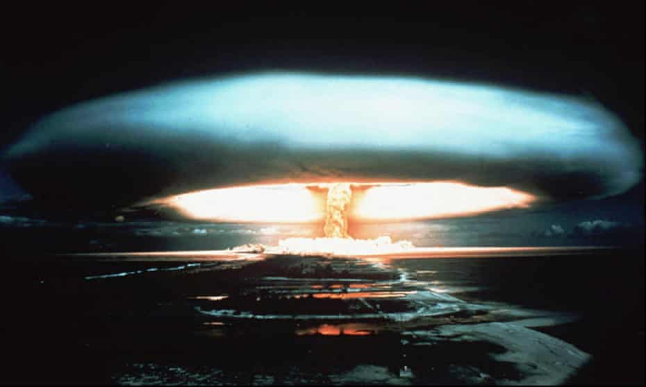 A nuclear bomb is detonated at the Mururoa atoll, French Polynesia in 1971