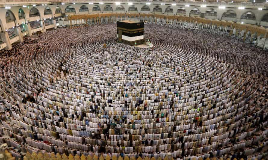 Muslims pray during the annual Haj pilgrimage in Mecca, in Saudi Arabia.