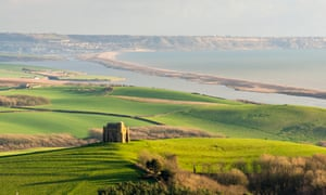 View from Abbotsbury Hill looking east towards Fleet lagoon and Chesil Beach.
