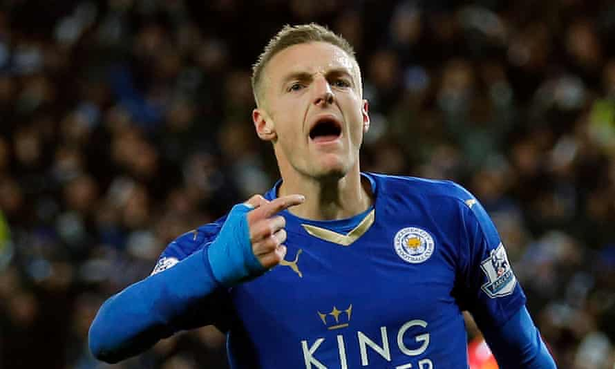 Leicester City v Manchester UnitedJamie Vardy celebrates scoring the first goal of the game and thus creates a new Premier League record by scoring for the 11th consecutive game during the Leicester City v Manchester United F.A. Premier League match at the King Power Stadium on November 28th 2015 in Leicester (Photo by Tom Jenkins)