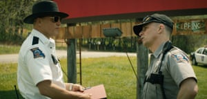 Bold and showboating … Woody Harrelson, left, in Three Billboards Outside Ebbing Missouri
