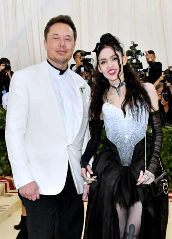 Musk with his partner, the musician Grimes, 2018.