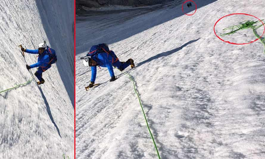 The picture posted by Éric Woerth claiming to show himself climbing the Glacier d'Argentière and a version showing the discrepancies.